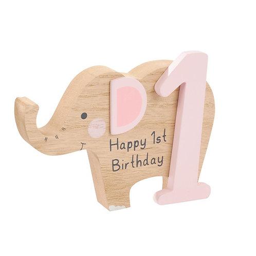 1st Birthday Elephant Block - Pink