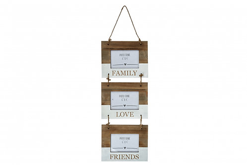 Family, Love, Friends - Triple Hanging Photo Frame
