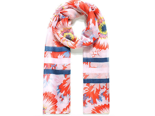 Red/Navy Morning Glory Sunflower Print Scarf