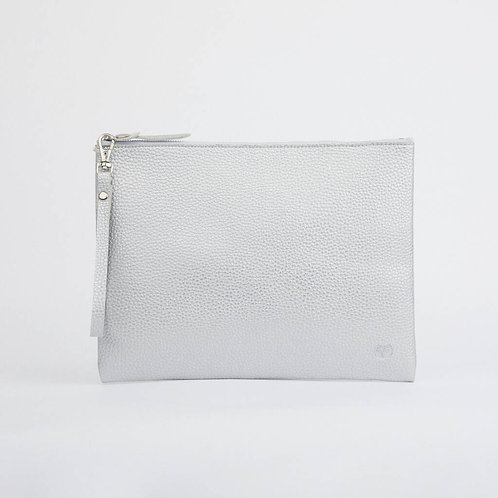 Peruvian Clutch Pouch - Vegan Friendly - Silver