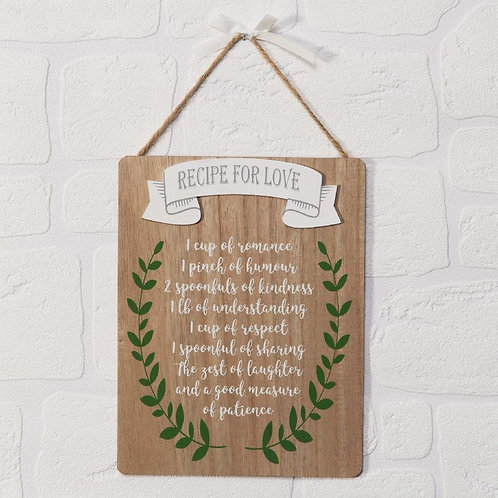 Recipe For Love Plaque