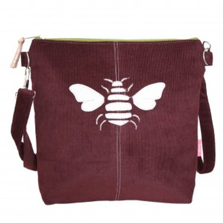 Lua - Gold Bee Messenger Bag - Fig