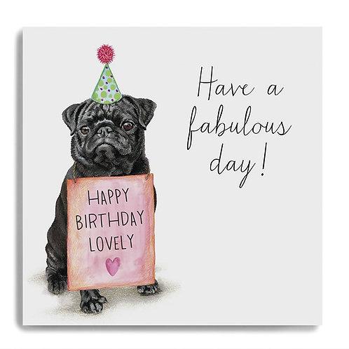 Pug - Happy Birthday Card