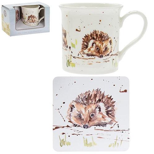Country Life Hedgehog Mug & Coaster Set