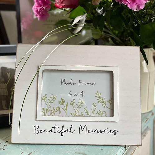 Beautiful Memories Cream Wooden Photo Frame