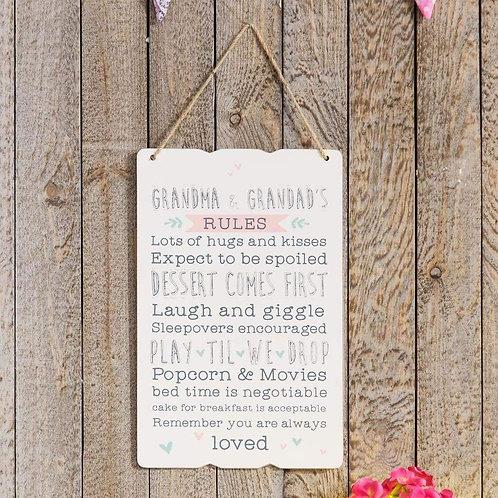 Grandma & Grandad's Rules - Sign