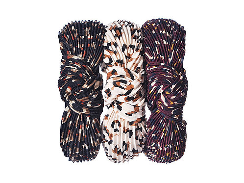 Pleated Leopard Print Headband - Black/Cream or Maroon