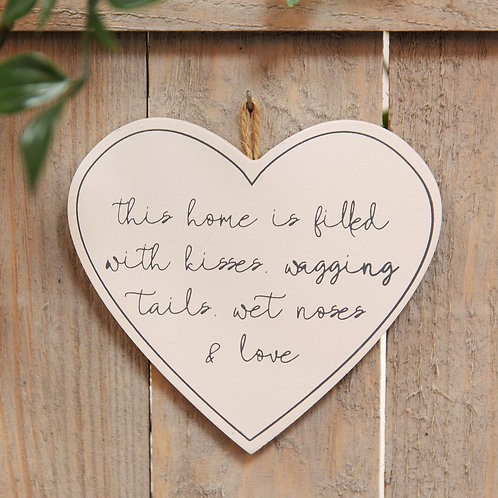Wagging Tails, Wet Noses & Love - Heart Plaque
