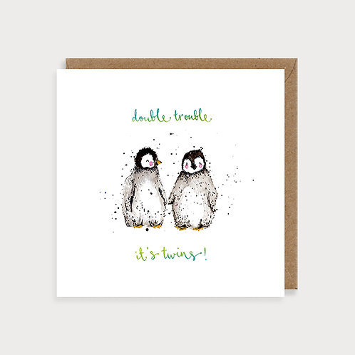 Birth of Twins Card - Double Trouble Penguins