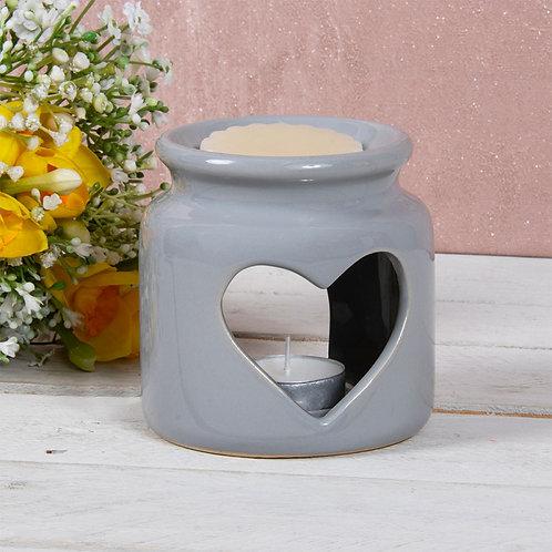Grey Cut Out Heart Ceramic Oil Burner