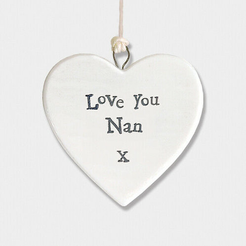 East Of India - 'Love You Nan' Porcelain Hanging Heart