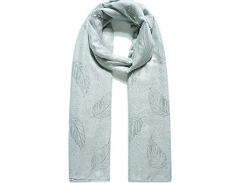 Light Grey Delicate Leaf Foil Print Scarf