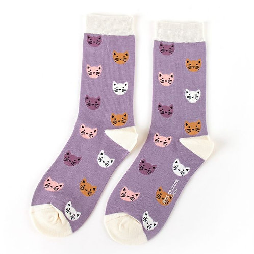 Miss Sparrow Ladies Bamboo Socks - Cats Lavender