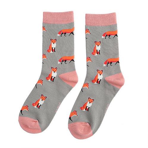 Miss Sparrow Ladies Bamboo Socks - Foxes Grey