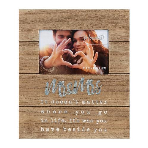 Mr & Mrs Rustic Wooden Frame
