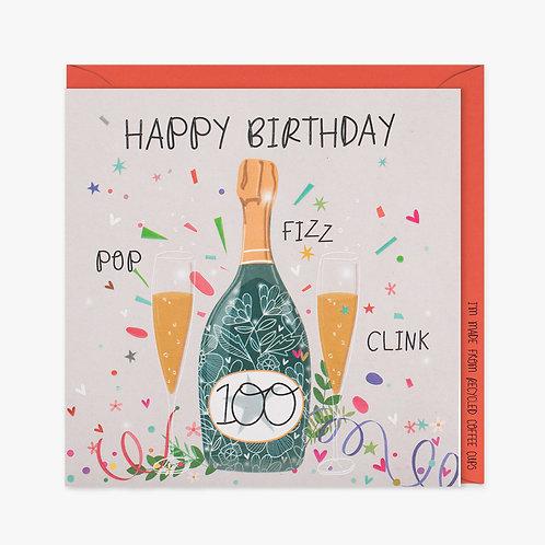 Pop, Fizz, Clink Happy 100th Birthday - Card
