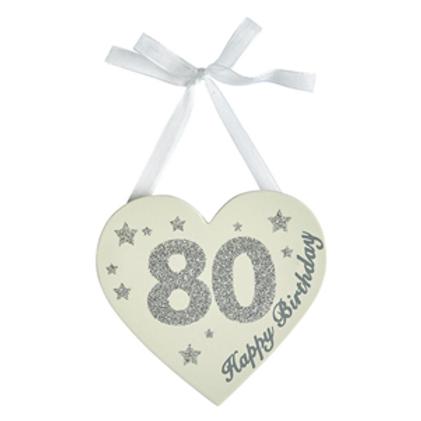 80th Birthday Glitter Heart