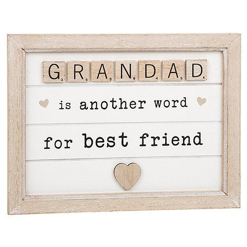 Grandad - Scrabble Sentiments Plaque