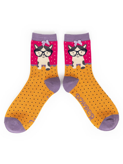 Powder UK - Pussy In Specs Ankle Bamboo Socks