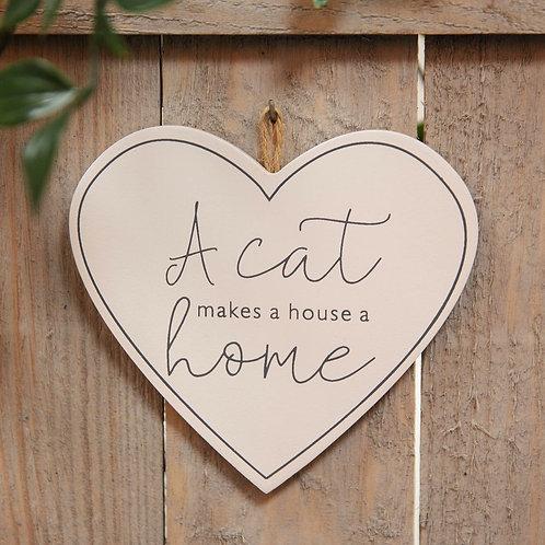 A Cat Makes A House A Home - Heart Plaque