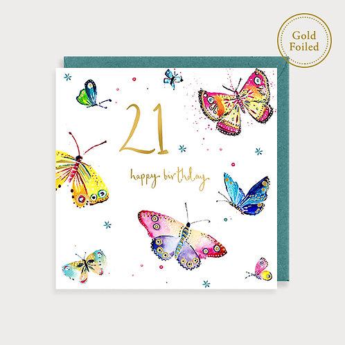 Butterflies 21st Birthday Card