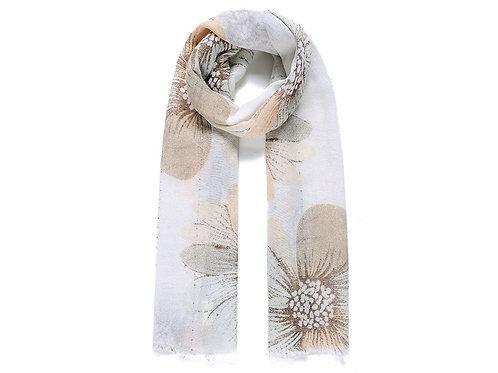 Beige Floral Print Embellished Scarf