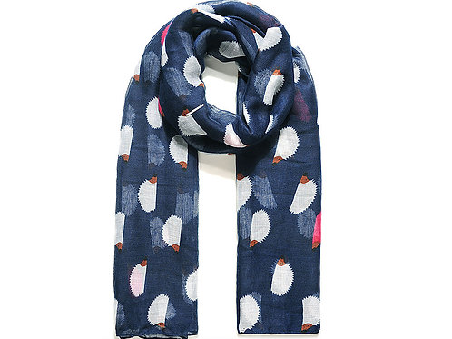 Navy With White Hedgehog Print Scarf