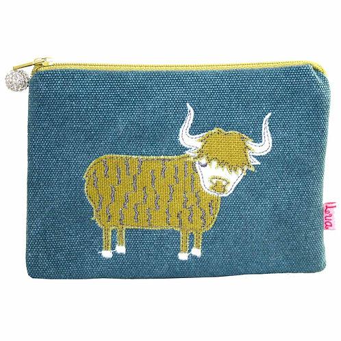 Lua - Highland Cow Coin Purse - Teal