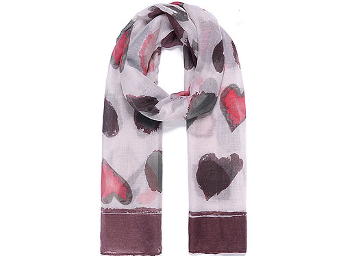 Burgundy Abstract Spots & Hearts Scarf