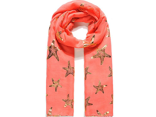 Red Gold Starfish Foil Print Scarf