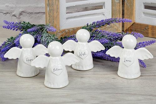 White Ceramic Angel - Hope, Believe, Wish or Love