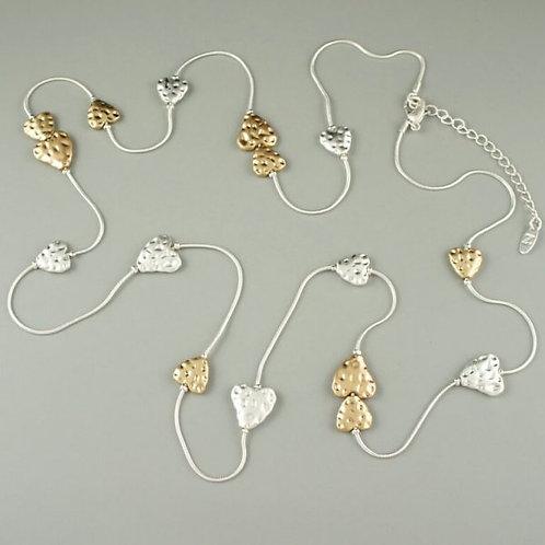 Petra - Matt Silver & Gold Long Necklace