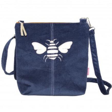 Lua - Gold Bee Messenger Bag - Navy