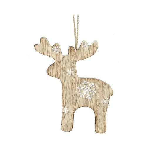 Hanging Wooden  Snowflake Reindeer