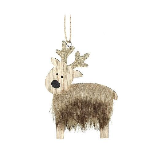 Furry Reindeer Tree Decoration