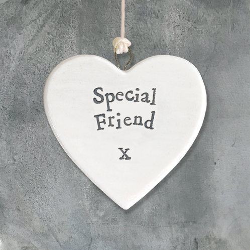 East Of India - Special Friend Porcelain Hanging Heart