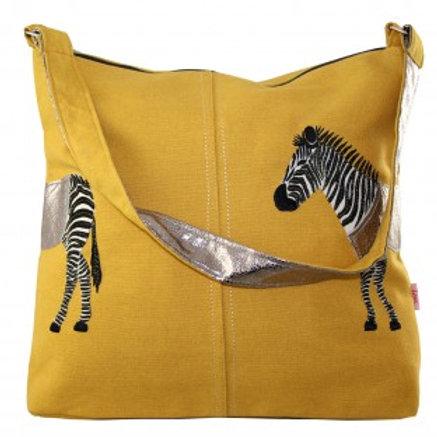Lua - Zebra Applique Shoulder Bag - Ochre