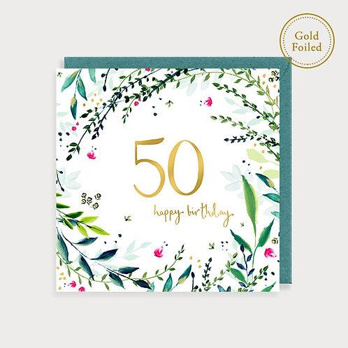 50th Birthday Card - Flora n Fauna