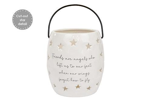 Friends Are Angels - White Ceramic Lantern