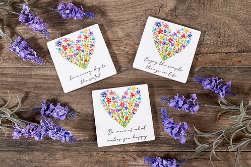 Enjoy The Simple Things - Floral Ceramic Coaster