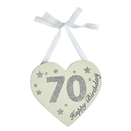 70th Birthday Glitter Heart