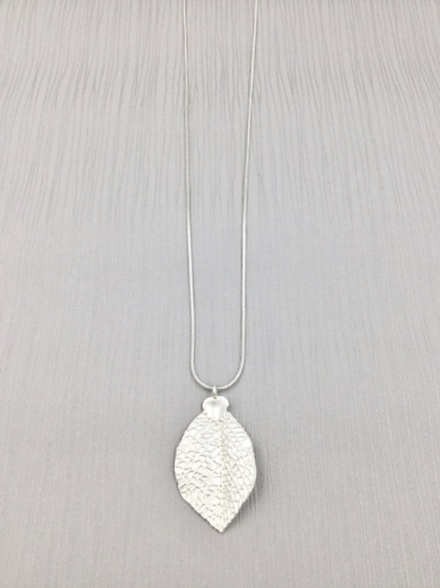 Silver Delicate Leaf - Long Necklace