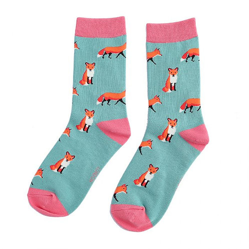 Miss Sparrow Ladies Bamboo Socks -Fox Turquoise