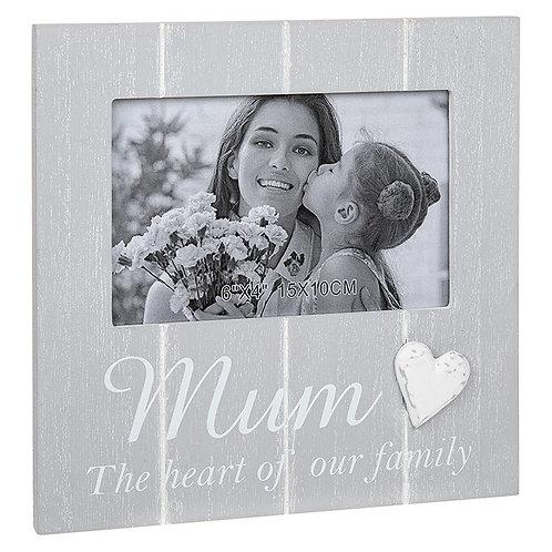Mum - Cool Grey Heart Photo Frame