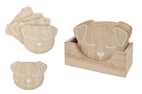 Wooden Dog Coaster Set - 5