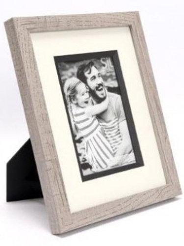 "Grey Wash Wooden Frame - 4 x 6"""