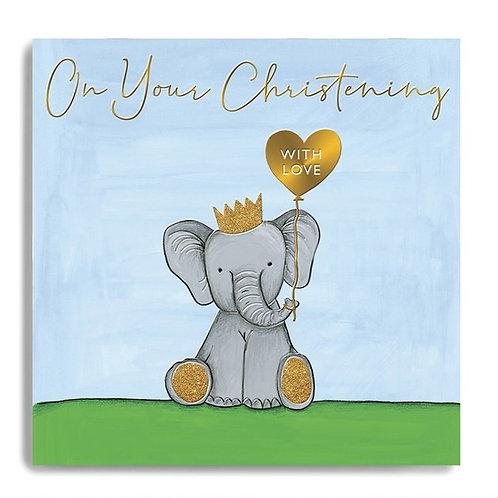On Your Christening - Elephant Christening Card (Blue)