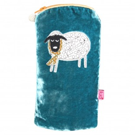 Lua - Winter Sheep Velvet Glasses Pouch - Turquoise
