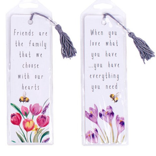 Floral Bookmark - Choice of 4 Sayings