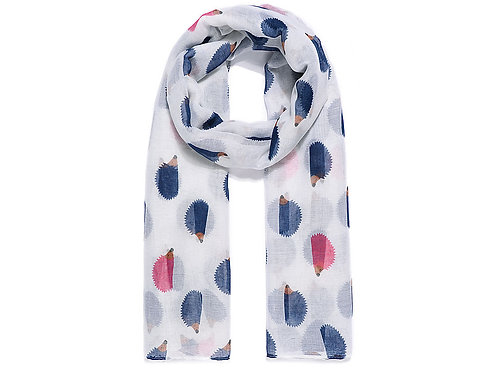 White With Navy Hedgehog Print Scarf